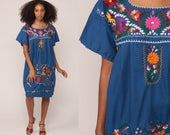 Traditional Mexican Dress Embroidered PEACOCK BIRD Midi Tunic Boho 80s Hippie Ethnic Floral Bohemian Vintage Blue Extra Large xl