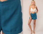 High Waist Shorts 60s Mod Blue Hipster 1960s High Rise Hotpants Pinup Vintage Retro Hot Pants Cotton Pin Up Shorts Small Medium