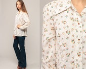 70s Floral Blouse Pearl Snap Shirt Western Hipster Top Off-White 1970s Vintage Button Up Boho Long Sleeve Rockabilly Large