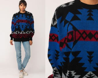 Boho Sweater Tribal 80s Aztec Geometric Print Grunge Slouchy 1980s Bohemian Vintage Pullover Jumper Knit Royal Blue Black Medium