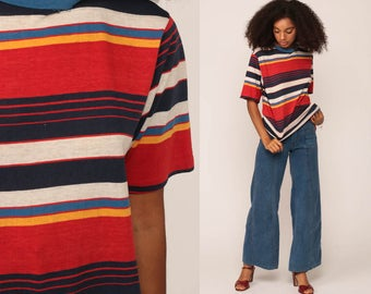 Striped Shirt Burnout Tee Retro Tshirt 80s T Shirt Grunge Tee Paper Thin Red Navy Blue Short Sleeve Normcore Yellow Extra Large xl
