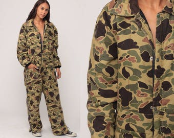 Military Jumpsuit WINTER Snowsuit Army Hunting Coveralls Onesie Camo Pants 80s Vintage Camouflage Outfit One Piece Quilted Medium