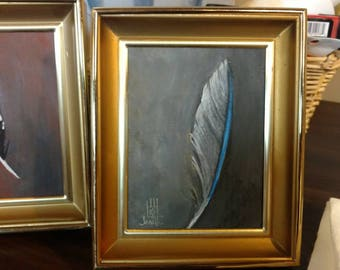 Feather Painting in Frame - (bluebird)