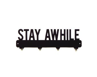Stay Awhile Metal Art Coat Rack - Free USA Shipping