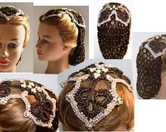 NEW Reenactment, Ribbon, Attifet,Teardrop, Juliet, 3 Pt Clover pattern Cap,headpiece & Snood,Renaissance,Medieval,Headdress,Hairpiece