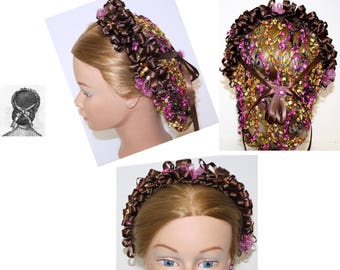 CIVIL WAR,headdress, Lace, Hair Snood, Chocolate Brown,Magenta,yellow,orange,hairnet ,Civil war Daywear, Ball, reenactment, Costume, Plays