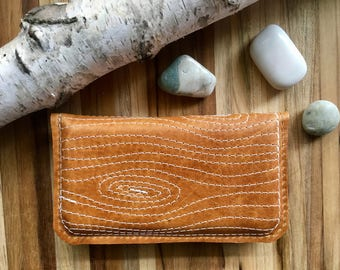 "Leather iPhone Wallet ""The Data Jack"" in Distressed Caramel w/ Woodgrain Stitching"