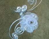 WEDDING BRACELET - Wire wrapped bracelet, white bracelet wedding jewelry, aluminium wire bracelet, aluminium wire jewelry
