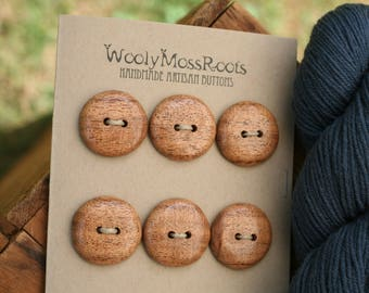 6 Madrone Buttons- Oregon Madrone Wood- Wooden Buttons- Eco Craft Supplies, Eco Knitting Supplies, Eco Sewing Supplies