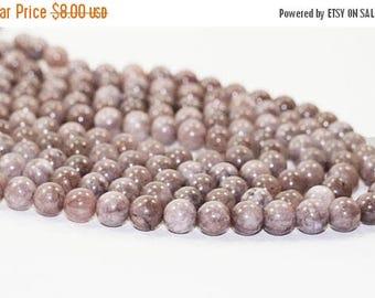 "20% OFF 7"" Gemstone STRAND - Lilac Stone Jasper Beads - 10mm Rounds - Shades of Pastel Lilac Purple (7"" strand - 18 beads) - str1259"