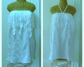 Dreamcatcher Dress Strapless White Pink Wedding Boho Bridal Braid Tassel Dreadlock Tribal Boho Velvet Feathers Large, 1x, 2x Beach Bride