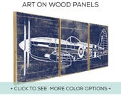 Vintage Airplane Decor - Perfect for Boys Room Wall Art - Over 25 Colors and 2 Size Options