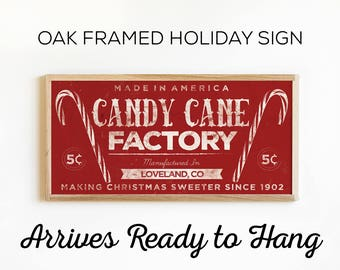 Christmas Holiday Wall Art - Candy Cane Factory Sign - Rustic Country Christmas Decor