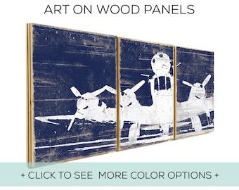 Vintage Airplane Wall Art - Boys Bedroom or Nursery Decor - Custom Made