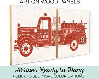 Custom Firetruck - Fire Truck Room Decor - Fire Engine Art - Firetruck Art - Custom Fire Engine - Custom Fire Truck - Baby Firefighter