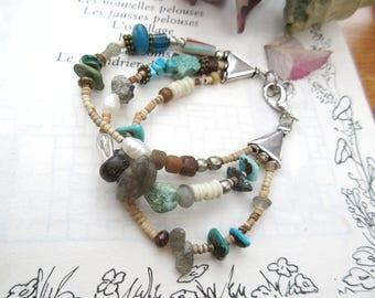"A boho chic tribal bracelet with turquoise, labradorite, quartz rutile gold ...: ""Traces Of Sweetness """