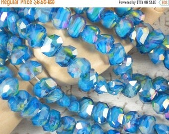 ON SALE 17 Polygon Beads Crystal AB Beads Turquoise, Yellow & White Swirled Faceted 13 x10mm (C227)