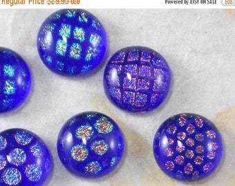 ON SALE 6 Blue Cabochons Fused Dichroic Glass w Pink, Green, Gold & Blue - Beading, metal Clay or make buttons (3121)