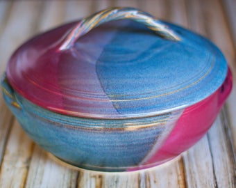 Ceramic covered cassarole baking dish- Blue Red hand thrown stoneware ceramic casserole baking dish with lid