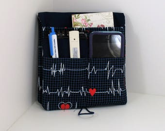 Medical Pocket Organizer - Nurse Scrubs Pocket Case - Two Sizes to choose from - Heartbeat fabric