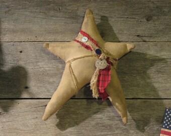 Primitive Americana Star Pillow, Primitive Patriotic Decor, Hanger, Hanging Star, Large
