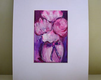 Peony Painting Drawing Wedding Gift Pink Floral Wall Decor Art