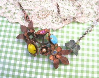 rosary assemblage necklace rustic flower mori girl rhinestones floral brass homespun cottage chic