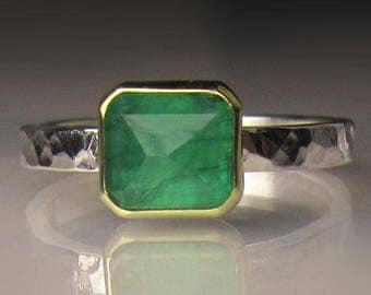 Rose Cut Emerald Ring, 18k Gold and Sterling Silver, Made to Order
