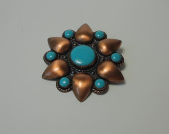 Bell Trading Company Cooper with Turquoise Color Cabs  Brooch/Pin.