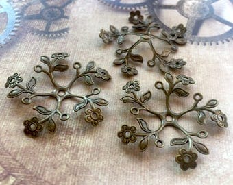 free uk postage Pack of 6 Large Brass Filigree Bead Caps in Antique Bronze