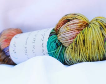 Hand dyed super wash merino speckled sock 100 grams 3.6 oz