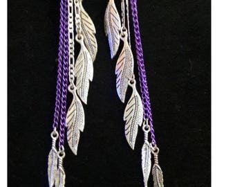 Unique Extra Long Sterling Silver Chain with Purple Aluminum Chain and Silver Plated Feathers