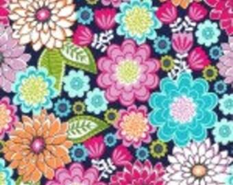 Nap Mat - Monogrammed Emma Jewel Flowers Nap Mat with a Fuchsia Minky Dot Blanket
