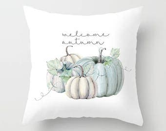 Pumpkin,seasonal,autumn,fall,holiday,pillow cover,blue,typography,throw pillow,decorative pillow