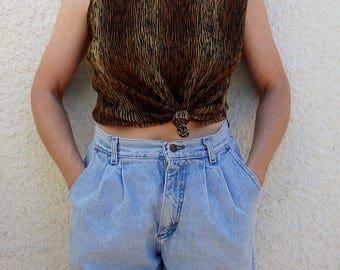 Womens Shirts Vintage Sleeveless Animal Print