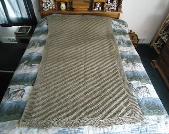 Taupe Hand Knitted Diagonal Stripe Afghan, Blanket, Throw - Home Decor