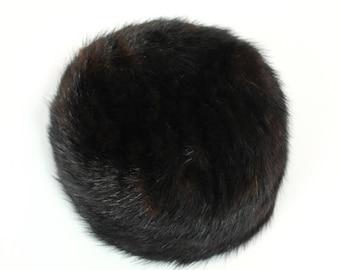 ON SALE Vintage Pillbox Hat 50s Gilbert Orcel Paris Black Brown Real Mink Fur Designer Free US Shipping