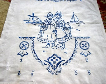Embroidered Depression Era Bluework Embroidery CURTAIN Towel Panel Table Runner Sheet Towel Cupboard cover cloth