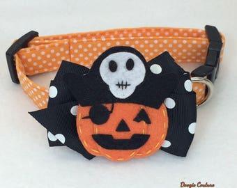 Jackolantern Halloween Dog Collar Size XS through Large by Doogie Couture Pet Boutique