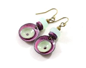 Raspberry Enameled Double Poppy Circle Earrings, Artisan Earrings, Boho Chic Earrings, Brass Earrings, Small Earrings, Sea Glass, AE235