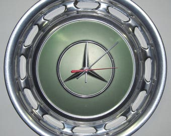 Metallic Green Mercedes Hubcap Clock - Classic Car Clock - Recycled Car Part