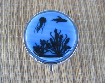 Ocean Scene Fused Glass Metal Pill Box Case Holder