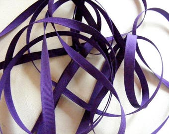 Vintage 1940's-50's French Grosgrain Ribbon 5/16 inch Purple