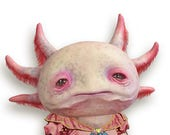 Carlota  -  PAPER DOLL -  articulated axolotl - 10.2 inches -  art doll magical creature freak carnival circus salmon pink paper puppet