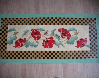 Floorcloth with Red Poppies
