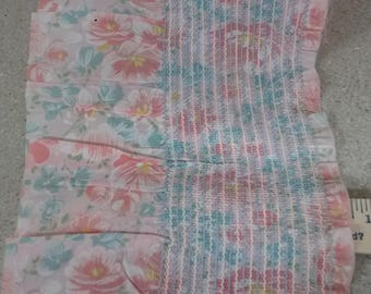 Peach and blue floral smocking
