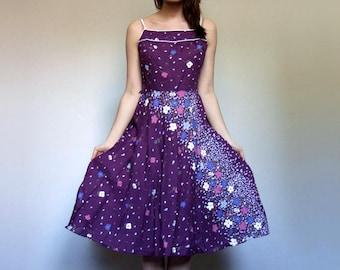 Purple Sundress Women Summer Dress Floral Print Dress Purple Dress 80s Sundress - Medium M
