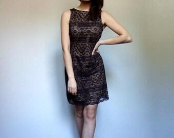 Black Nude Dress Vintage 80s Lace Party Dress Shift 1980s Cocktail Dress Sleeveless Lace Illusion Dress - Medium M