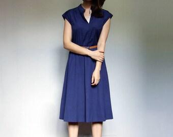 Minimalist Dress Vintage Blue Dress 70s Sundress Simple Summer Dress - Medium to Large M L
