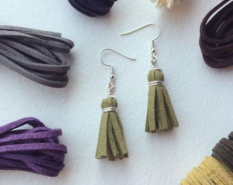 Leather and Vegan Leather Cord Tassel Earrings - Fall Colors - Silver Fashion Trend Earring - Autumn Accessories
